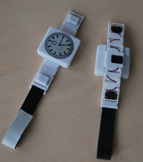 bracelet  Picture showcasing a prototype of a vibrotactile wristband for communication, CEA LIST
